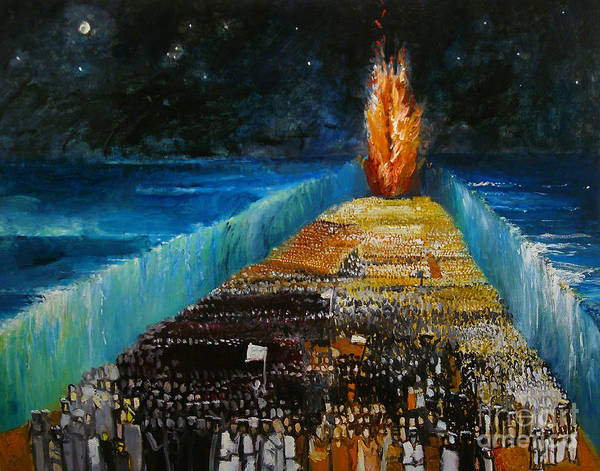 Moses Parting The Red Sea; Miracle; Divine Intervention; Leading Israelites To Freedom; Escape; Escaping; Egypt; Pharaoh; Biblical; Walls; Water; Flame; Procession; Fleeing; Jewish Poster featuring the painting Exodus by Richard Mcbee