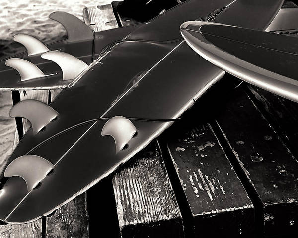 Fins And Boards Poster featuring the photograph Fins And Boards by Ron Regalado