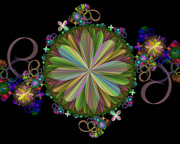 Fractal Poster featuring the digital art Flowers by Sandy Keeton