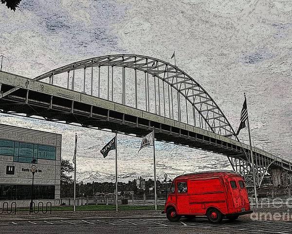 Fremont Bridge Poster featuring the photograph Fremont Bridge by David Bearden