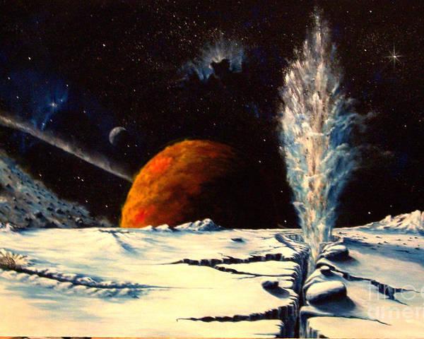 Landscape. Geyser Poster featuring the painting Frozen Geyser by Murphy Elliott