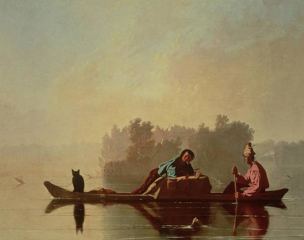 Canoe; Cat; Paddle; River; Barge; Boat; Trader; Merchant; Seller; Vendor; Trade; Transport; American Landscape; Frontier; French Settlers Poster featuring the painting Fur Traders Descending The Missouri by George Caleb Bingham