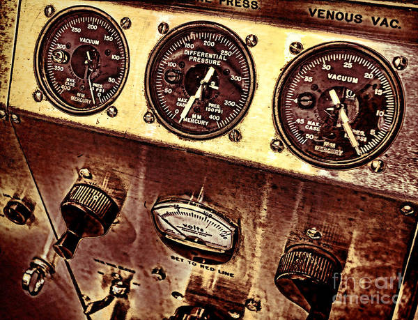 Machine Poster featuring the photograph Grunge Gauges by Olivier Le Queinec
