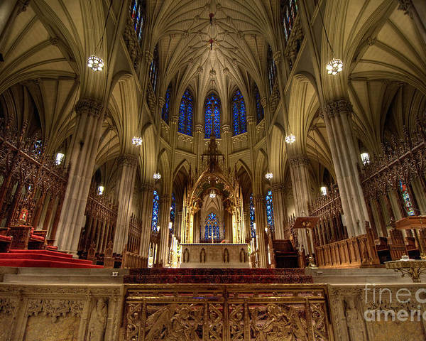 Altar Poster featuring the photograph Inside St Patricks Cathedral New York City by Amy Cicconi