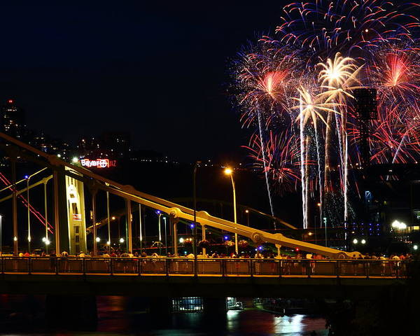 Pittsburgh Poster featuring the photograph July 4th Fireworks In Pittsburgh by Jetson Nguyen