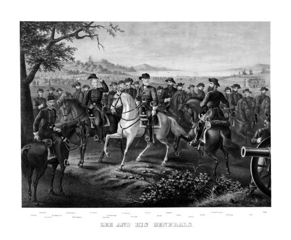 Robert E Lee Poster featuring the painting Lee And His Generals by War Is Hell Store