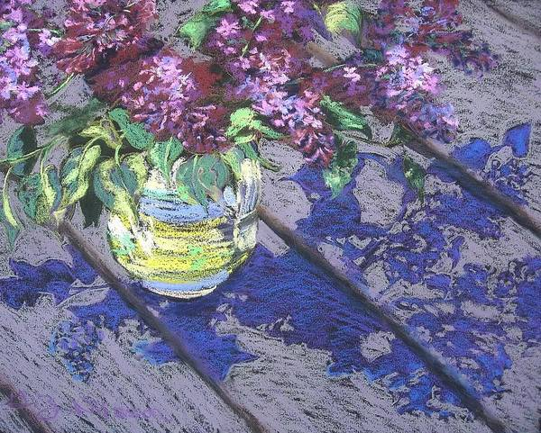Still Life Poster featuring the pastel Lilacs by Gloria Nilsson