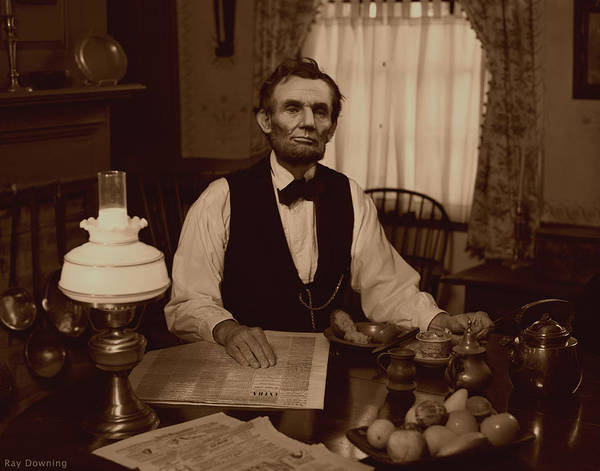Abraham Lincoln Poster featuring the digital art Lincoln At Breakfast by Ray Downing