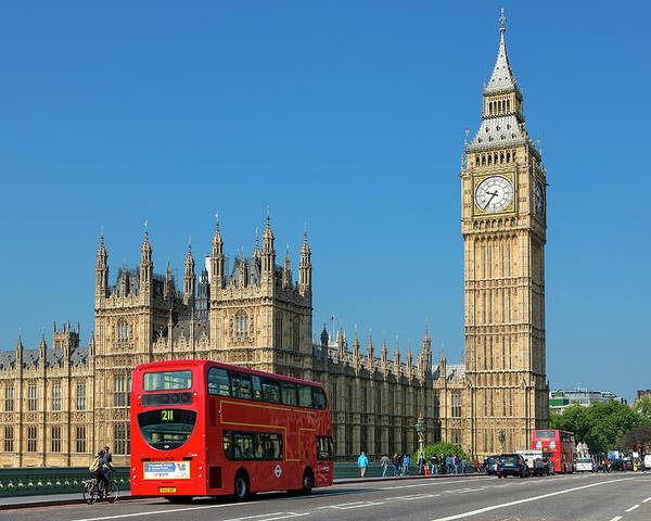 Clock Tower Poster featuring the photograph London, Big Ben And Traffic On by Sylvain Sonnet