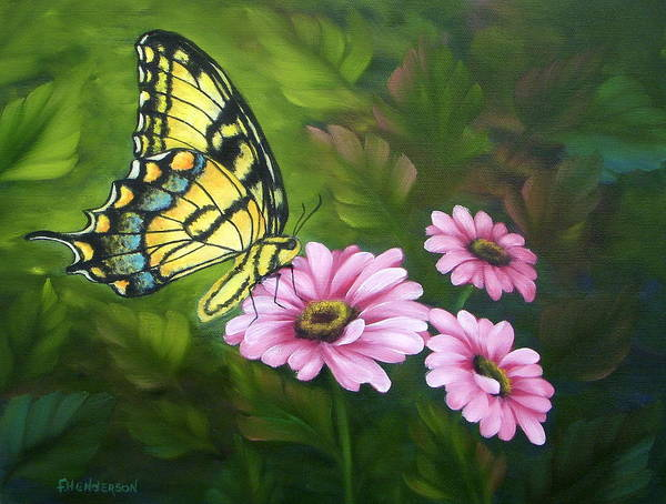 Tiger Swallowtail Butterfly Poster featuring the painting Lunch In The Garden by Francine Henderson