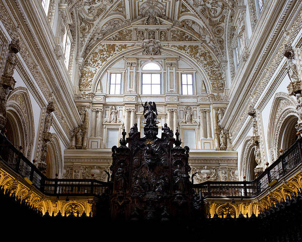 Mezquita Poster featuring the photograph Mezquita Cathedral Interior In Cordoba by Artur Bogacki