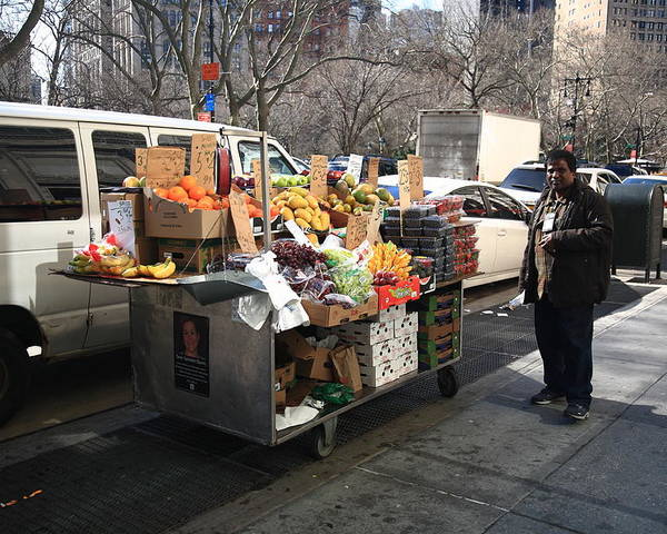 Architecture Poster featuring the photograph New York Street Vendor by Frank Romeo