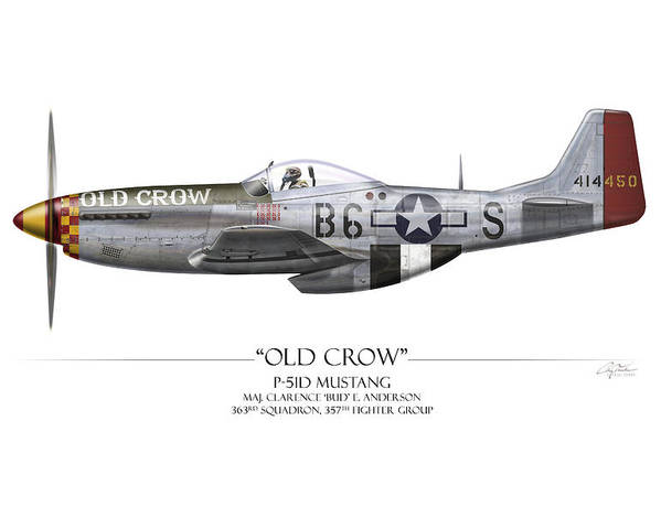 Aviation Poster featuring the painting Old Crow P-51 Mustang - White Background by Craig Tinder