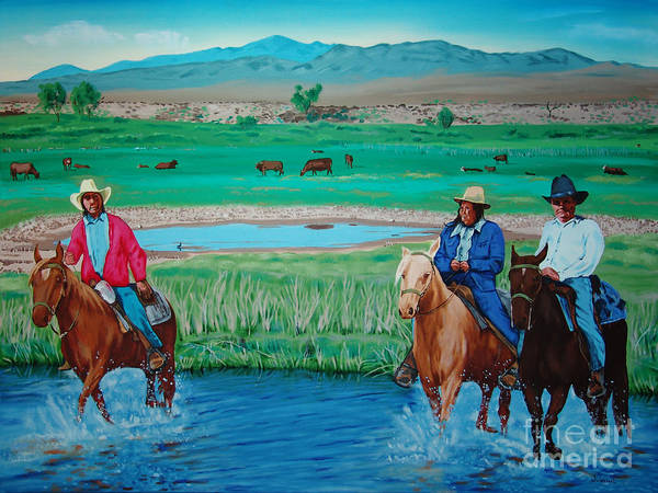Canvas Prints Poster featuring the painting Paiute Cattlemen by Joseph Juvenal