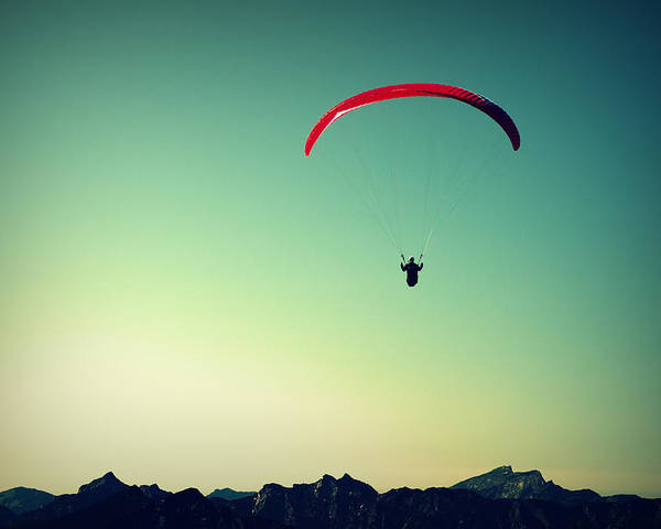Paraglider Poster featuring the photograph Paraglider by Chevy Fleet