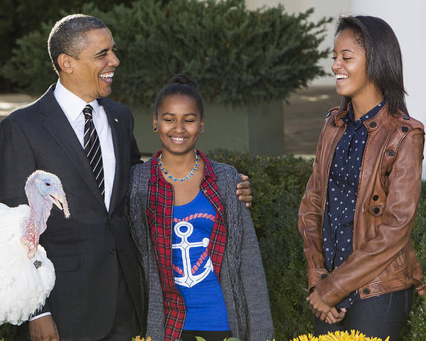 President Poster featuring the photograph President Obama And Daughters by JP Tripp