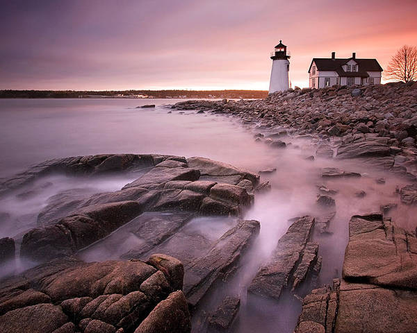 Maine Poster featuring the photograph Prospect Harbor Light by Patrick Downey