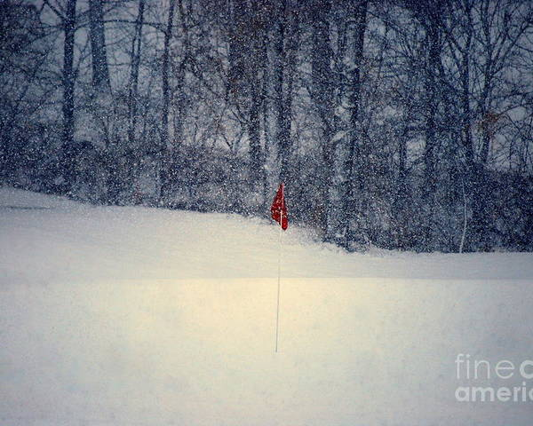 Snow Poster featuring the photograph Red Flag On The Snow Covered Golf Course by Catherine Sherman