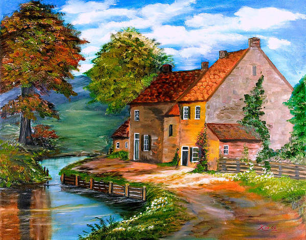 Landscape Poster featuring the painting River House by Kenneth LePoidevin