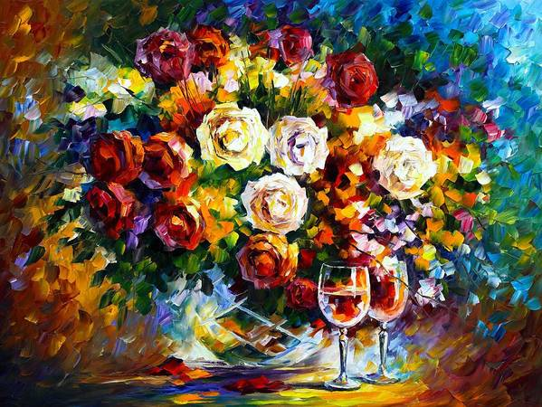Afremov Poster featuring the painting Roses And Wine by Leonid Afremov