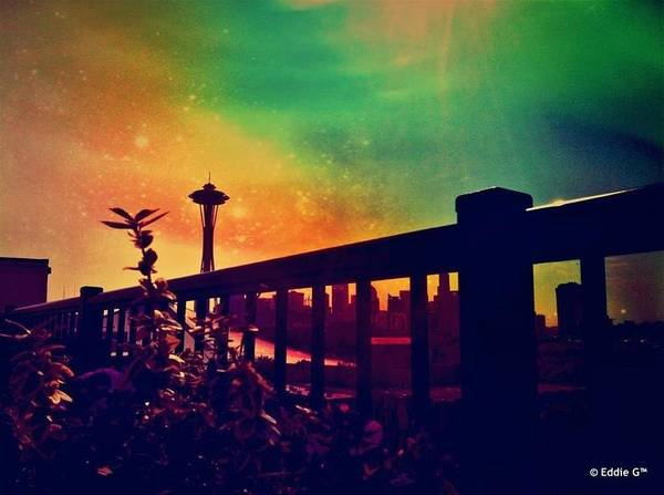 Seattle Space Needle Poster featuring the photograph Seattle Space Needle by Eddie G