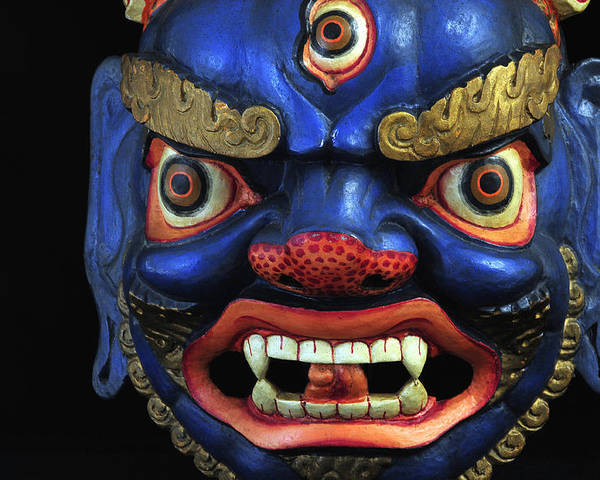 Colorful Poster featuring the photograph Sikkim Dance Mask, India by Theodore Clutter