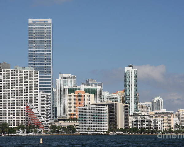 Miami Poster featuring the photograph Skyline Miami by Christiane Schulze Art And Photography