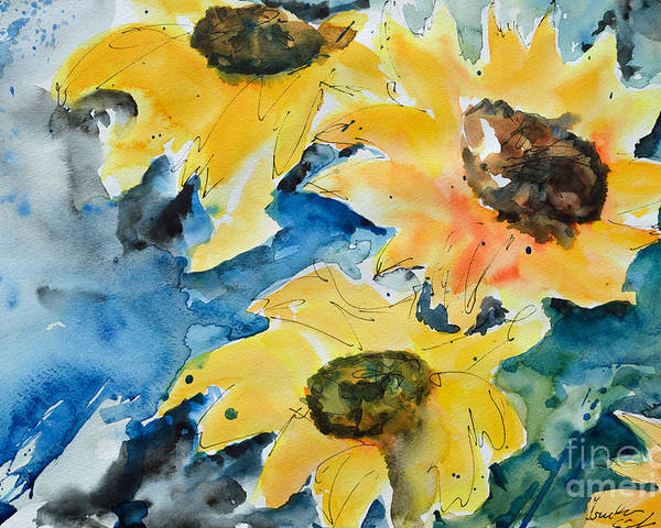 Sunflower Poster featuring the painting Sunflowers by Ismeta Gruenwald