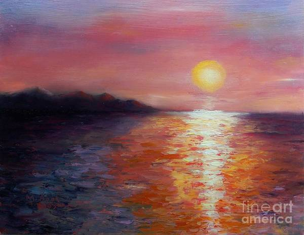 Seascape Poster featuring the painting Sunset In Ixtapa by Marlene Book