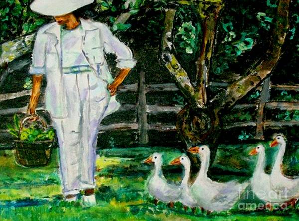 Acrylic Poster featuring the painting The Five Ducks by Helena Bebirian