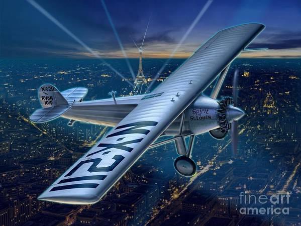 Lindbergh Poster featuring the digital art The Spirit Over Paris by Stu Shepherd
