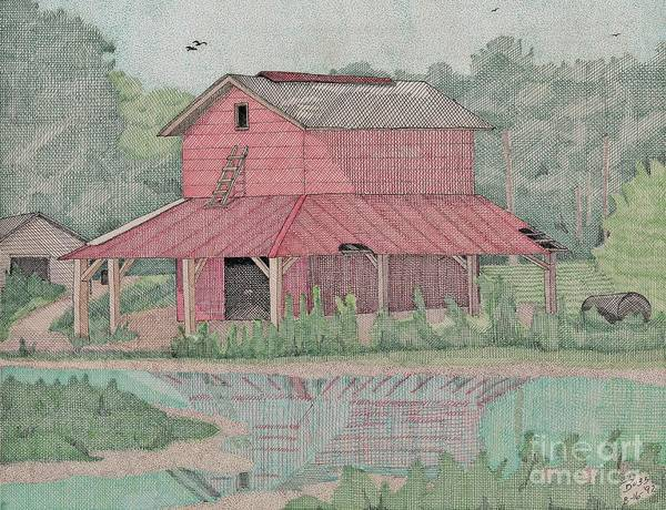 Tobacco Poster featuring the drawing Tobacco Barn by Calvert Koerber