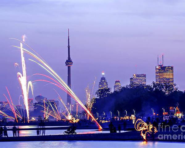Toronto Poster featuring the photograph Toronto Fireworks by Elena Elisseeva