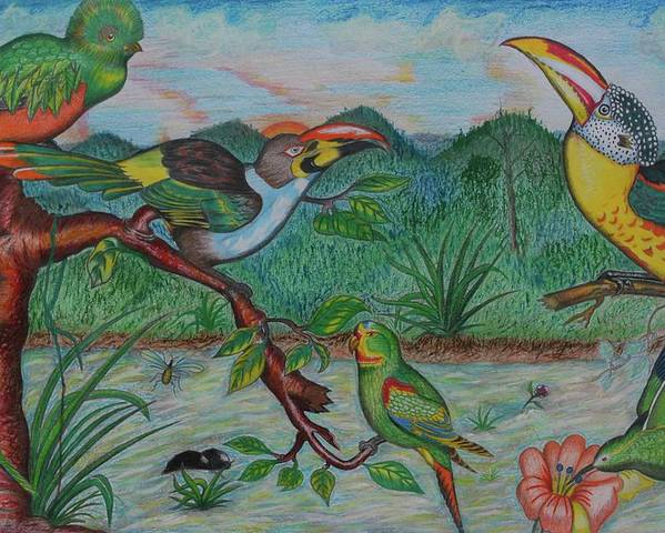Johnpowellpaintings Poster featuring the painting Tropical Dialogue by John Powell