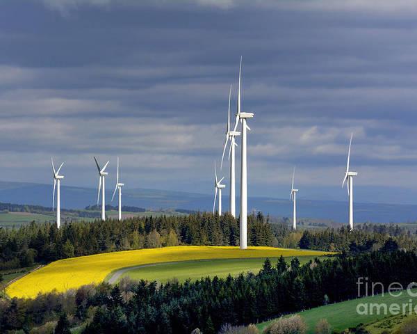 Outdoors Poster featuring the photograph Wind Turbines by Bernard Jaubert