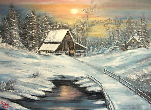 Winter Poster featuring the painting Winter by Kenneth LePoidevin