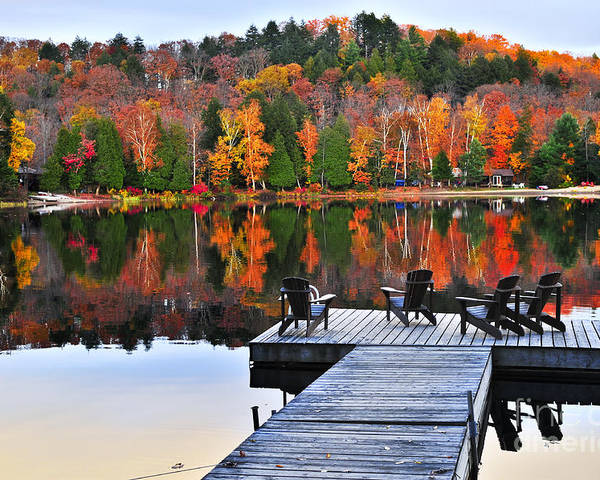 Lake Poster featuring the photograph Wooden Dock On Autumn Lake by Elena Elisseeva