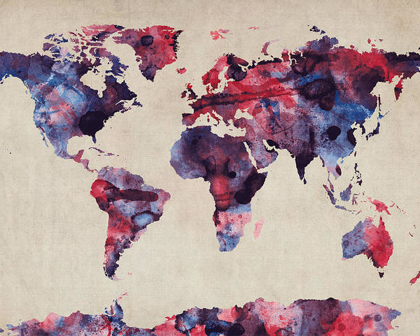 Map Of The World Poster featuring the digital art World Map Watercolor by Michael Tompsett