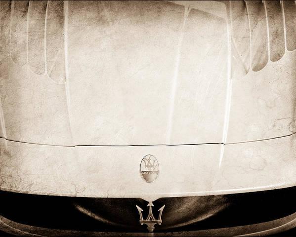 2005 Maserati Mc12 Hood Ornament Poster featuring the photograph 2005 Maserati Mc12 Hood Ornament by Jill Reger