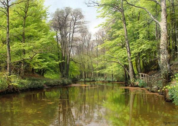 1500-2000 Poster featuring the painting A Tranquil Forest Lake by MotionAge Designs