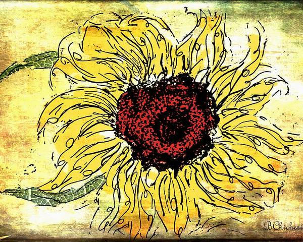 Floral Art Poster featuring the painting 24 Kt Sunflower - Barbara Chichester by Barbara Chichester