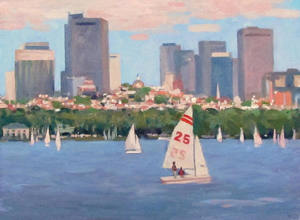 Sailboat Poster featuring the painting 25 On The Charles by Dianne Panarelli Miller