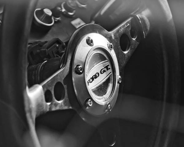 Ford Gt  Steering Wheel Emblem Poster Featuring The Photograph  Ford Gt  Steering