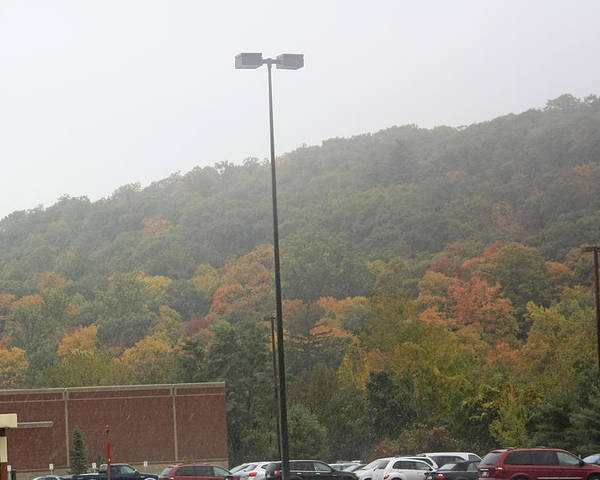 Autumn Foliage Poster featuring the photograph A Foggy Autumn Day At The United States Military Academy by James Connor