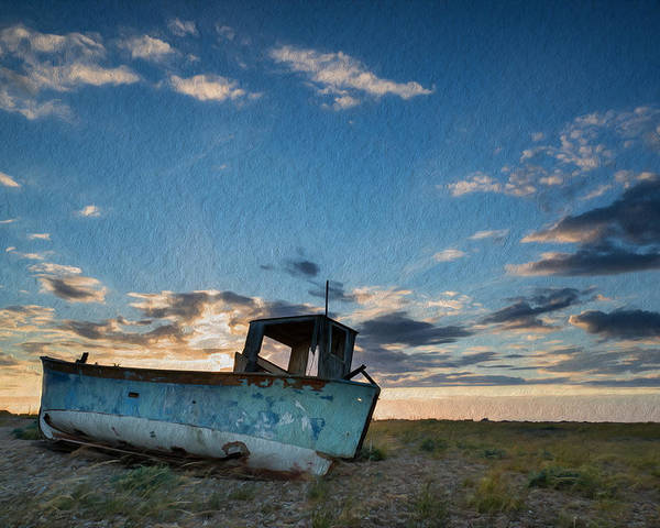 Landscape Poster featuring the photograph Abandoned Fishing Boat Digital Painting by Matthew Gibson