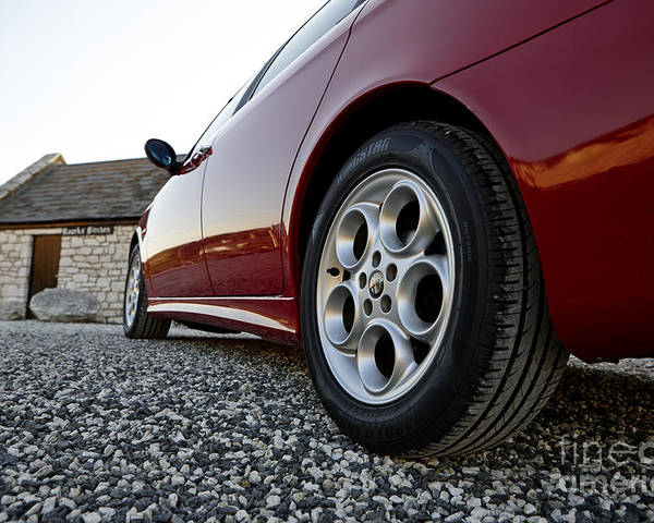 Alloy Wheels And New Tyres On An Alfa Romeo 156 Poster By Joe Fox