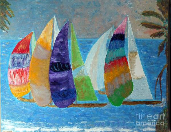 Boats Poster featuring the painting Boats At Sunset 1 by Vicky Tarcau