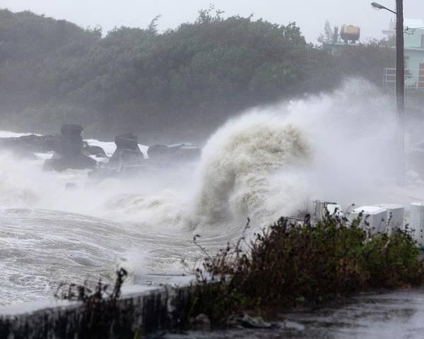Typhoon Usagi Poster featuring the photograph Coastal Wave During Typhoon Usagi by Jim Edds
