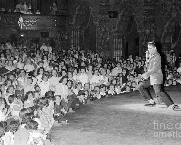 Elvis Presley Poster featuring the photograph Elvis Presley in concert at the Fox Theater Detroit 1956 by The Harrington Collection