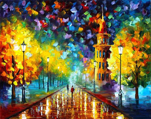 Afremov Poster featuring the painting Gold Winter by Leonid Afremov